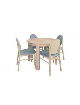 Zestaw Bernardin okrągły stół rozkładany z 4 krzesłami