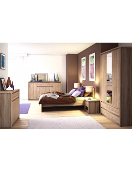 Bedroom set, bed, large wardrobe with mirror, 2x night stands, free delivery Norton