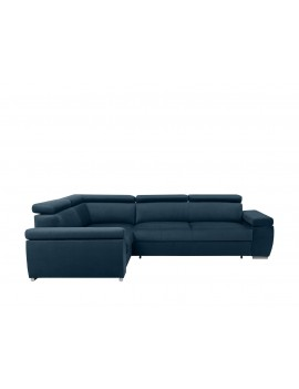 Loft corner sofa bed with storage left navy blue